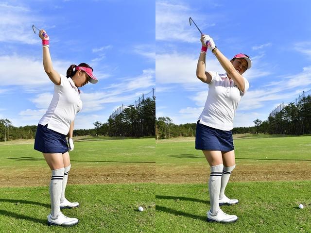 画像: 右手にクラブを持ち左手を合わせてあげれば、簡単に9時半トップを体感できる