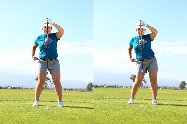 画像: 切り返しで少しだけ腰を目標方向へ動かす。「このとき左腰が浮かないように注意してください。右足も浮いてしまいますからね。左のお尻を出すイメージでもいいと思います」