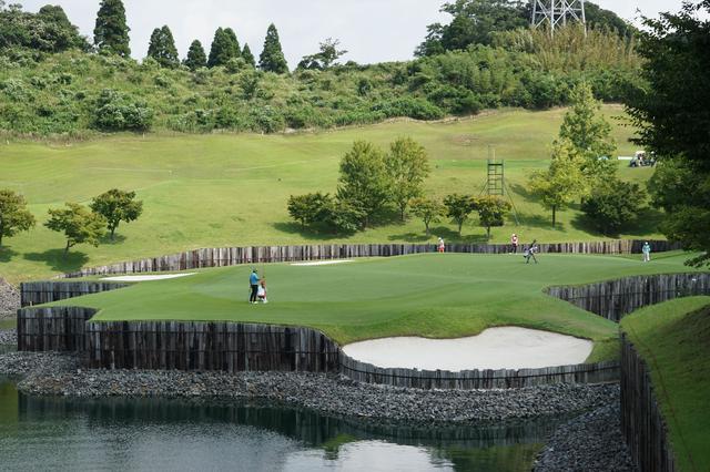 画像: 池がからむ14番パー3