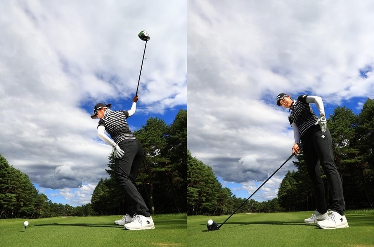 画像: 左のお尻側に腰を開くように使うことで、懐ができる。重心は右サイドに残っているので低い位置からヘッドを入れて、長いフォローを作り出せる