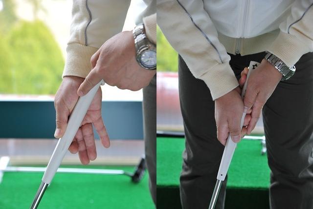 画像: 2支点縦振り子ストロークの基本は逆オーバーラッピンググリップ。左人差し指を伸ばして握ると、手首を支点にして始動できる