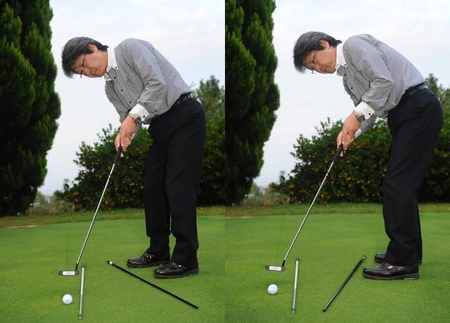 画像: オープンスタンスはフックスピンがかかりやすく(写真左)、クローズスタンスはスライススピンがかかりやすい(写真右)