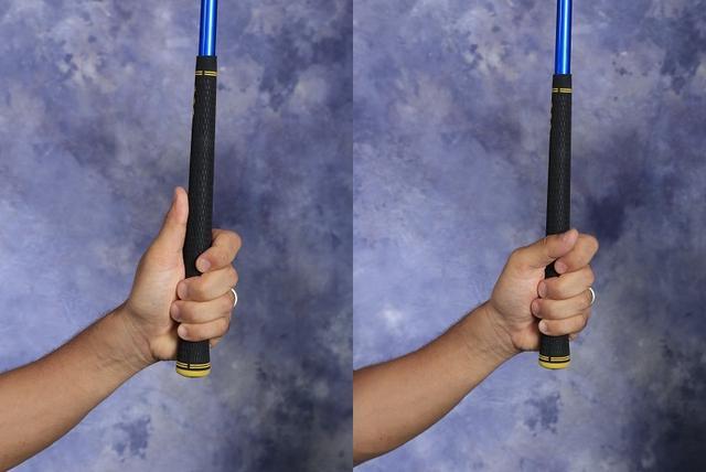 画像: 左の写真ように親指を乗せる握り方がテンフィンガー。右のように左親指を外す握り方がベースボールグリップ(写真/岡沢裕行)