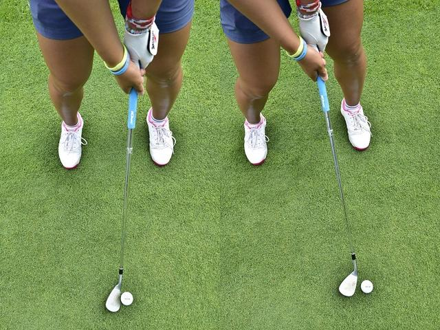 画像: 上写真左が54度ウェッジを開いたアドレス。ボールを上げたいときはもっと開いて、シャフトがやや右に傾いた状態で構える(上写真右)