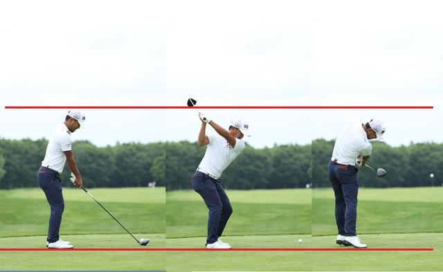 画像: 切り返しで沈み込んだら、ひざを伸ばしてもフォローまで頭の高さが変わらないことで回転力に変換される