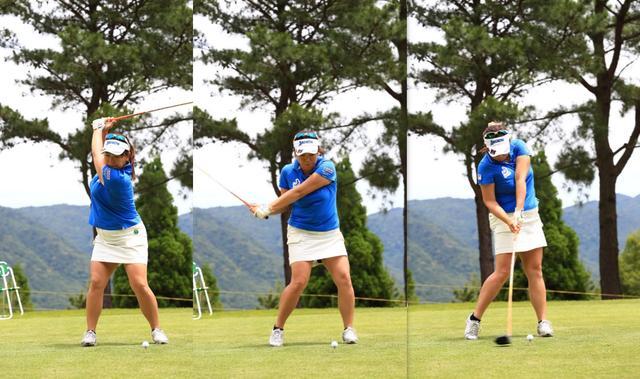画像: トップからインパクトにかけて左腕が体から離れない。そのため、インパクトでボールにしっかりと力が伝わる(写真1)