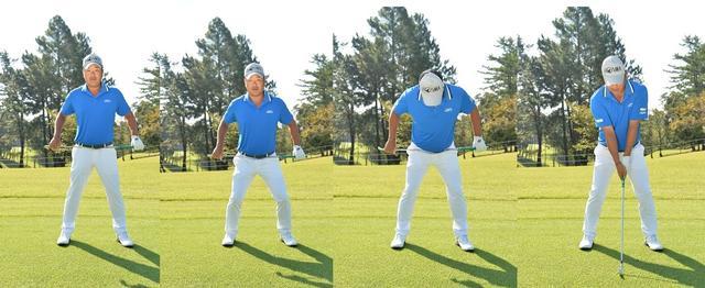 画像: 左右均等に体重をかける→股関節にクラブを当て両ひざを軽く曲げる→腰を入れて股関節から前傾する→腕を下ろしてセットアップ完了
