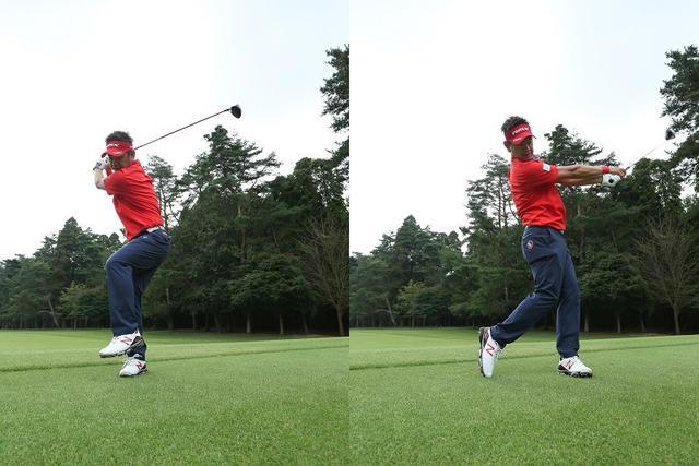 画像: バックスウィングで左足を浮かせ、完全に右足にウェートを乗せる。左足を踏み込こんでいけば、下半身主導のスウィングが体感できる