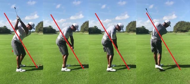 画像: インパクトのラインに線を引くとクラブがオンプレーンに振れているのがわかる(引用元@TigerWoods) twitter.com