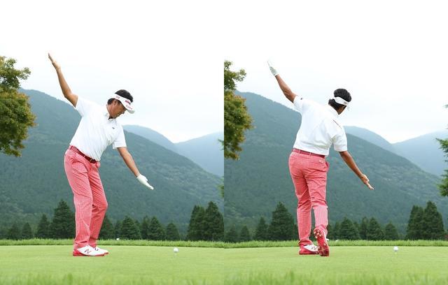 画像: アドレスで作った面をなぞるように、バックスウィングでは右手を、フォローでは左手を振る