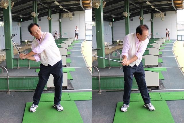 画像: トップからの切り返しで一気に力を入れると振り遅れてインサイドアウトが強くなるミスや(写真左)、上半身が開いてアウトサイドインのカット軌道になるミス(写真右)になりやすい