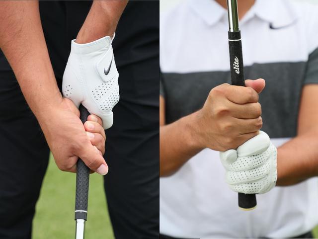 画像: 時松のグリップ。左親指をシャフト上に乗せず、右小指は左人差し指と絡めない