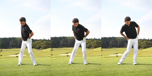 画像: バックスウィングでは右ひざを固定し、お尻の回転を45度くらいに抑えるのがポイント。切り返しでは腰を目標方向に平行移動し、体重を左足に乗せる。左足を踏み込んで左サイドの壁がつくれたら、右足の蹴りを使ってお尻を一気に左にターン。