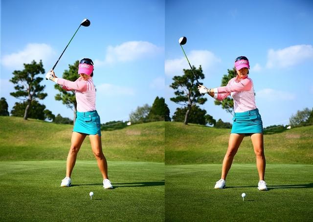 画像: 左肩の入りが浅い(写真左)ままクラブを下ろすと胸が開き(写真右)、振り遅れてインパクトのフェースも開いてしまう。結果、右へのミスになる。