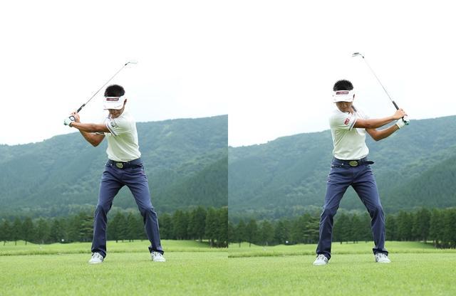 画像: 下半身を動かさずに、腕が地面と平行になるトップとフィニッシュで、左右対称に素早く連続で素振りをする。セリザワメソッドの基本中の基本のドリルで、腕の正しい振り方や、手首の使い方が身につく。軸を意識しながら振るのがポイントだ