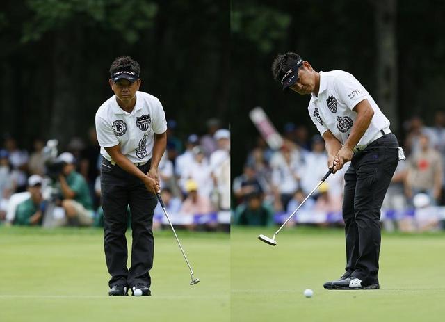 画像: 藤田寛之プロのようにカップを見たまま素振りを繰り返すことによって、目の左右差がなくなり、より距離感が鮮明になる