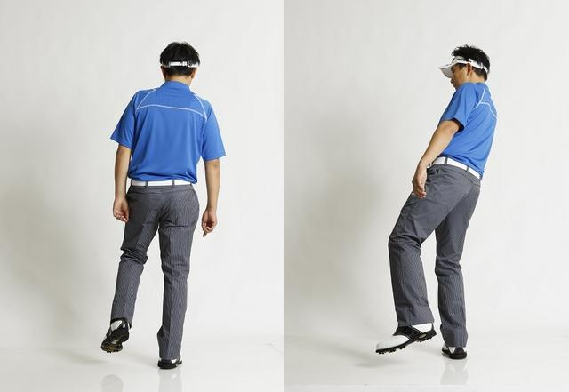 画像: 右足1本(右軸)と、左足1本(左軸)で立った場合、それぞれ体の回転がどう変わるか、感じてみよう。右軸では体を左に回したときに腰が引け、体が開くのがわかるはず。左軸で振る理由のひとつはここにある