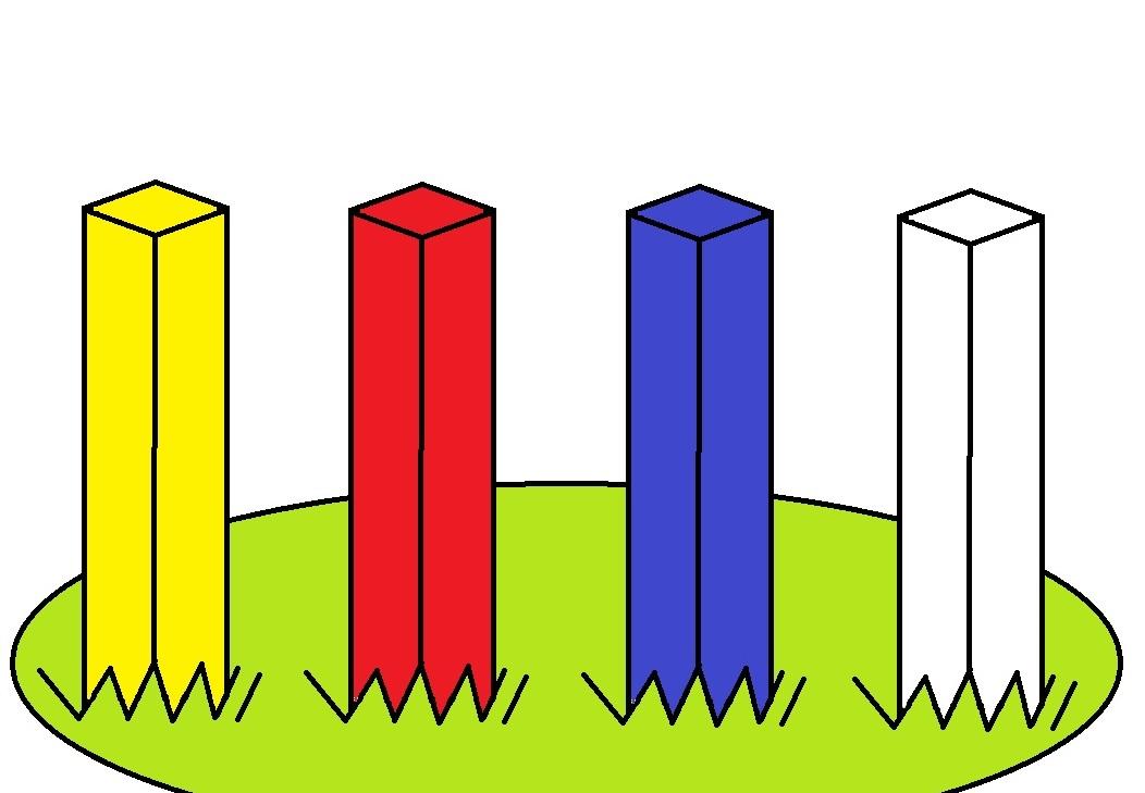 画像: 黄・赤・青・白。さて、抜いていい杭はどれでしょう?【初心者ゴルファー応援団】 - みんなのゴルフダイジェスト