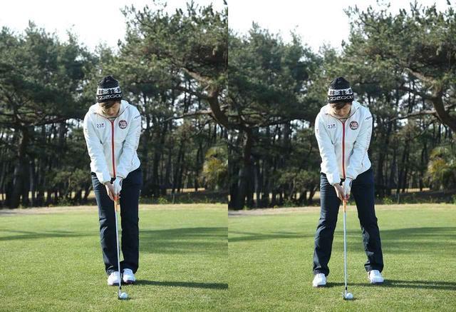 画像: グリップを先に決め、左、右足の順でアドレスを作る。