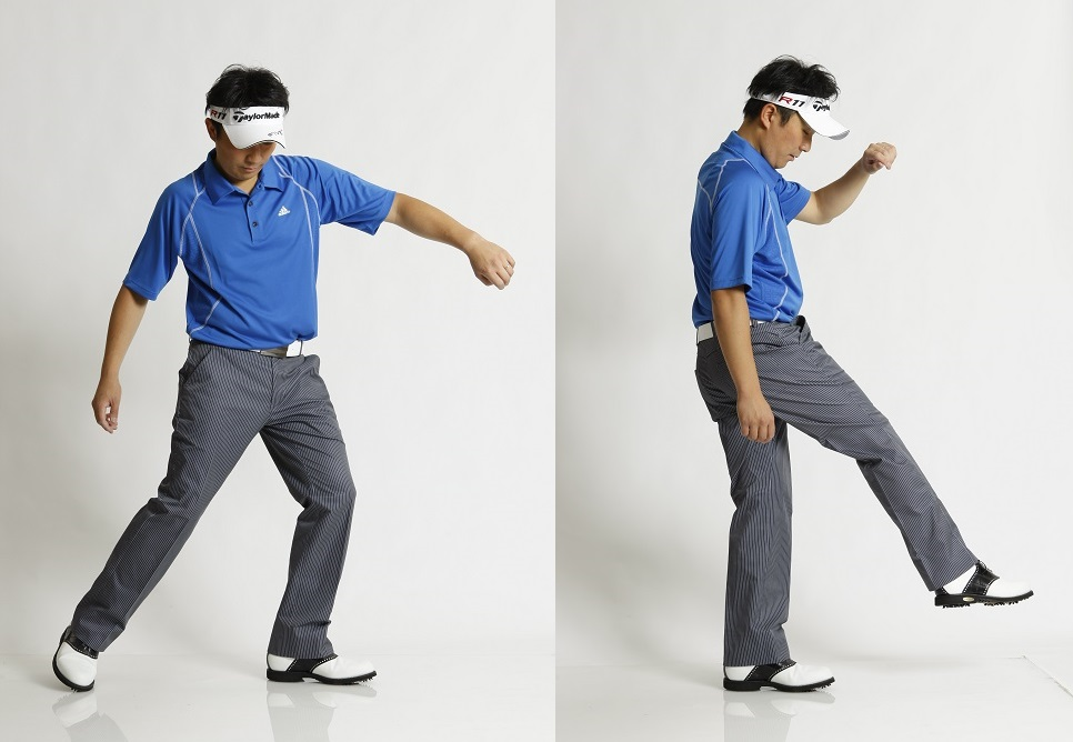 """画像: 右利きの場合、野球の投球動作、空手の突き、サッカーのフリーキックなど、すべて左軸で行われる。ゴルフに限らず、""""モノにエネルギーを与える""""動作では、左軸がつねに自然だ"""