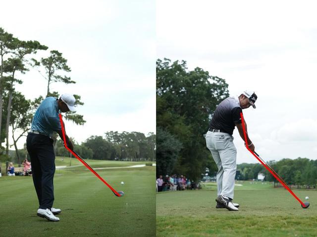 画像: タイガー(左)と松山(右)のインパクト。腕とクラブが作る角度はともに160度以内。その角度は驚くほど似ている!