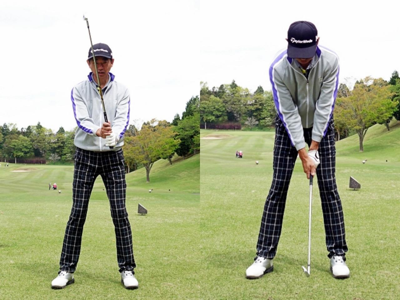 画像: 左は直立状態。右は前傾状態