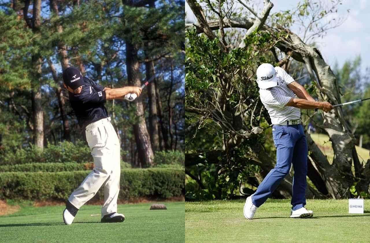 画像: 左は2004年、右は2017年のローテーション。以前は手首を返して球を押し込んでいた(2004年)が、体の回転でローテーションが起こる(2017年)スウィングに変化した