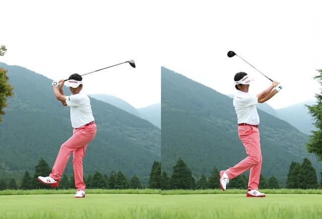 画像: 右、左とその場で足踏みするようにスウィングすれば、体重移動は自然と起こる。意識して体を左右に揺さぶる必要はない