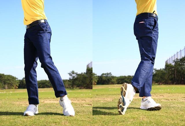 画像: 最初は下半身を積極的に動かして、5割のスピードで振る。下半身を使うとリズム感も出てくる