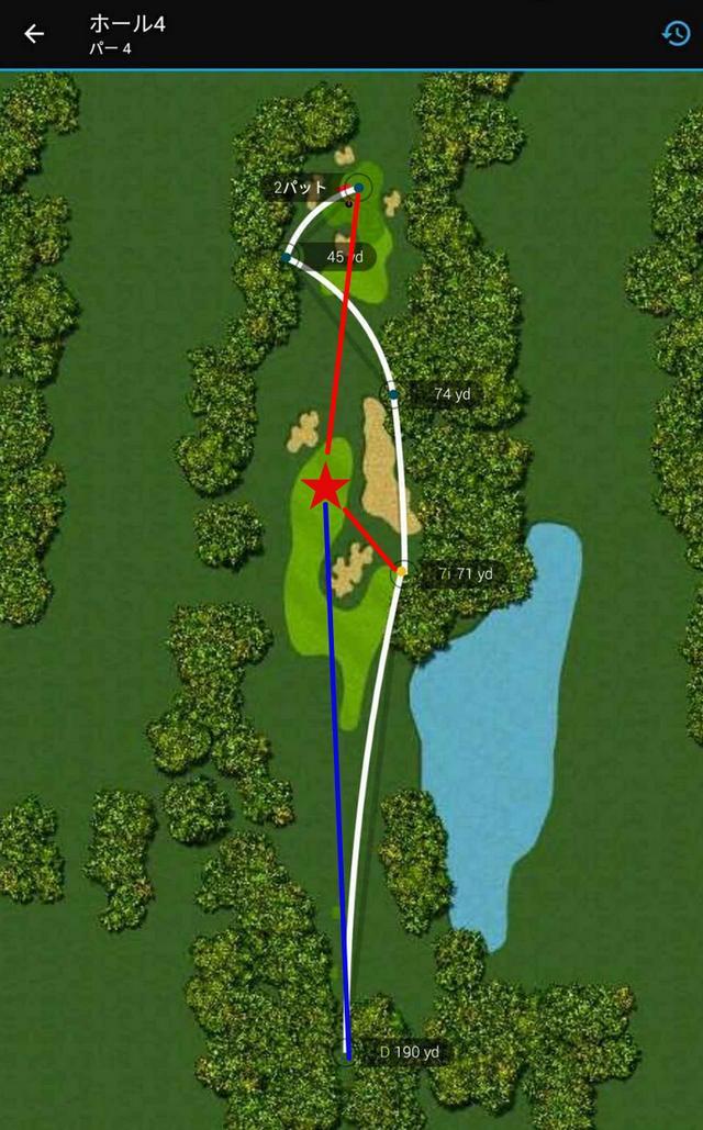 画像: 青が理想のライン。赤が最善の挽回策ラインだ