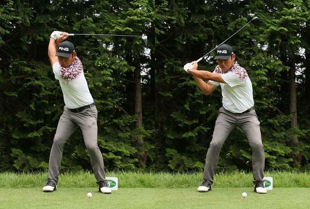 画像: フェースが空を向くトップから、左サイドの回転で切り返すチャン・キム(2017年日本ゴルフツアー選手権)