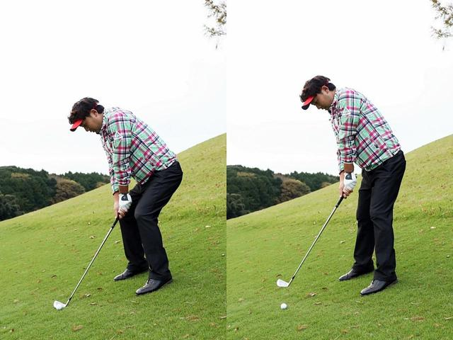 画像: ひざを深く曲げて構えると(写真左)、インパクトでは起き上がりやすい(右)