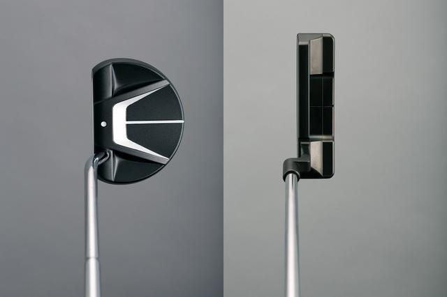 画像: ピン型に多いクランクネック(右)はネック自体に重さがあるので高重心になりやすい。一方、ベントネック(左)はヘッドに挿さっている場合が多く低重心になる