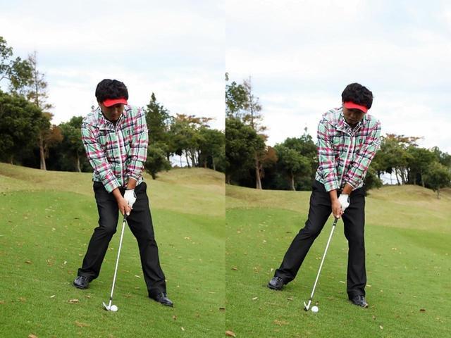 画像: 傾斜に逆らって立つ(左)とミスになる。傾斜なりに構えよう(右)
