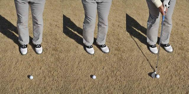 画像: 両足の真ん中にボールを置き、両足のかかとを中心に左回転。見た目には「右つま先の前」だが、実際は「両足かかとの真ん中」なのだ