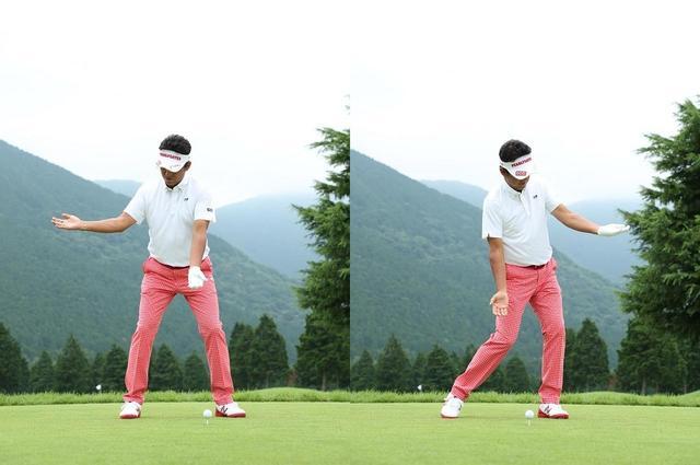 画像: ひじを下に向けたまま体を回転。フォローでもひじの向きをキープする
