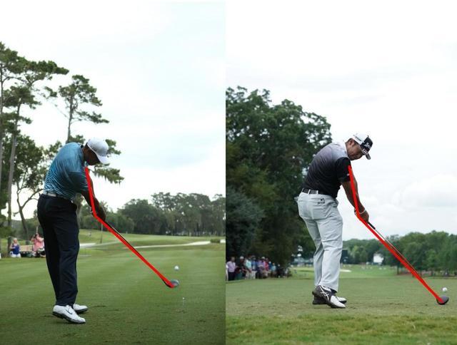 画像: タイガー(左)も、松山(右)も、インパクトの瞬間にシャフトと左腕が作る角度は160度以内。つまり、手元が浮いていない