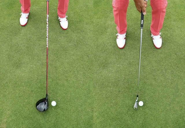 画像: 7番以下はボール位置がスタンスの真ん中。長い番手ほど左寄りになる