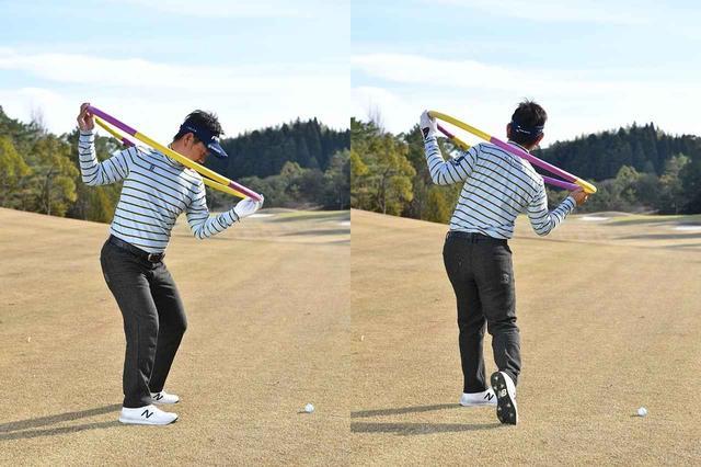 画像: 「前傾した上体の背骨のラインに対して、両肩のラインがつねに直角に保たれていますよね。右肩が極端に下がったり、両肩が地面と平行になっていたらNGです」(藤田)