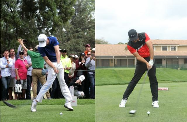 画像: ジャスティン・トーマス(写真左)とブルックス・ケプカ(写真右)。ともにインパクトで左足が伸びている