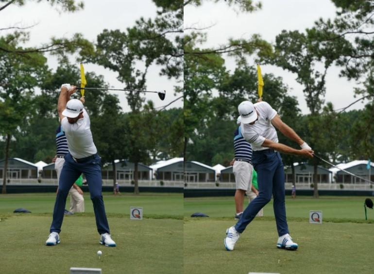 画像: トップで右ひざが伸び、インパクトでは左ひざが伸ばしながら地面を踏み込むD・ジョンソン