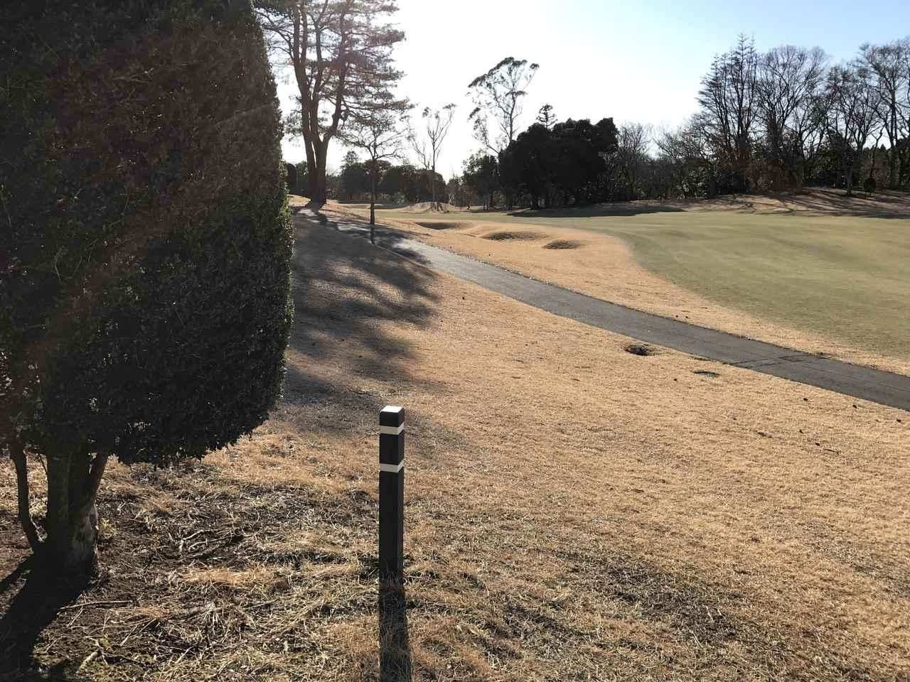 画像: この杭は線が2本なので残り150ヤードの目安
