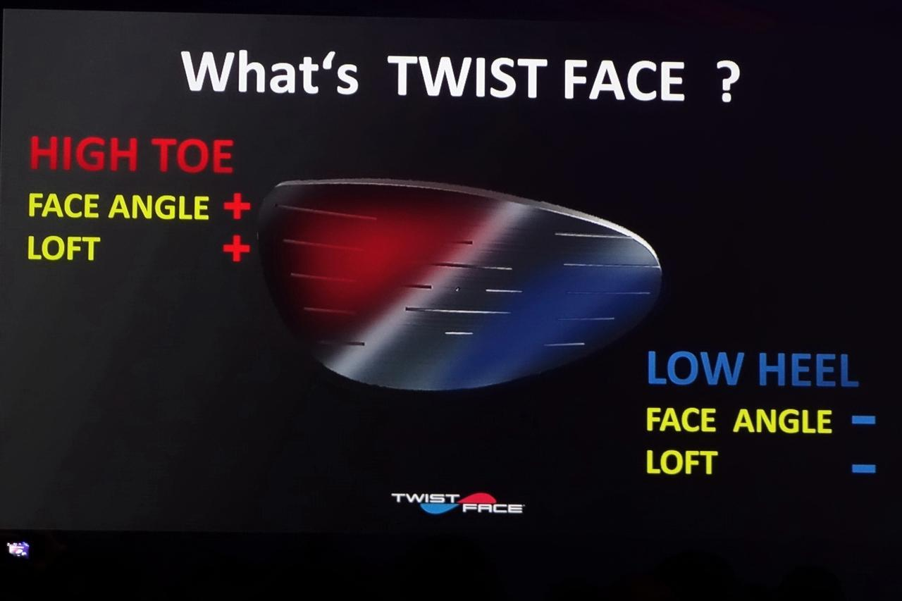画像: ツイストフェースとは、トウ側上目はフェースが開いてロフトが多く、ヒール側低めはフェースが開いてロフトが立っているフェースのこと