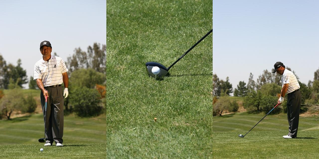 画像: プレショットルーティンの方法は、人それぞれでいい。倉本プロの場合は、まずボールの後ろからこれから打つ球筋をイメージし、ボールと目標の間にスパット(目印)を見つけ、スパットにフェースと体をスクェアに合わせたら、もう目標は見ず、ボールをスパットに打ち出すことを意識して、イメージが消えないうちにスウィングするという手順だ
