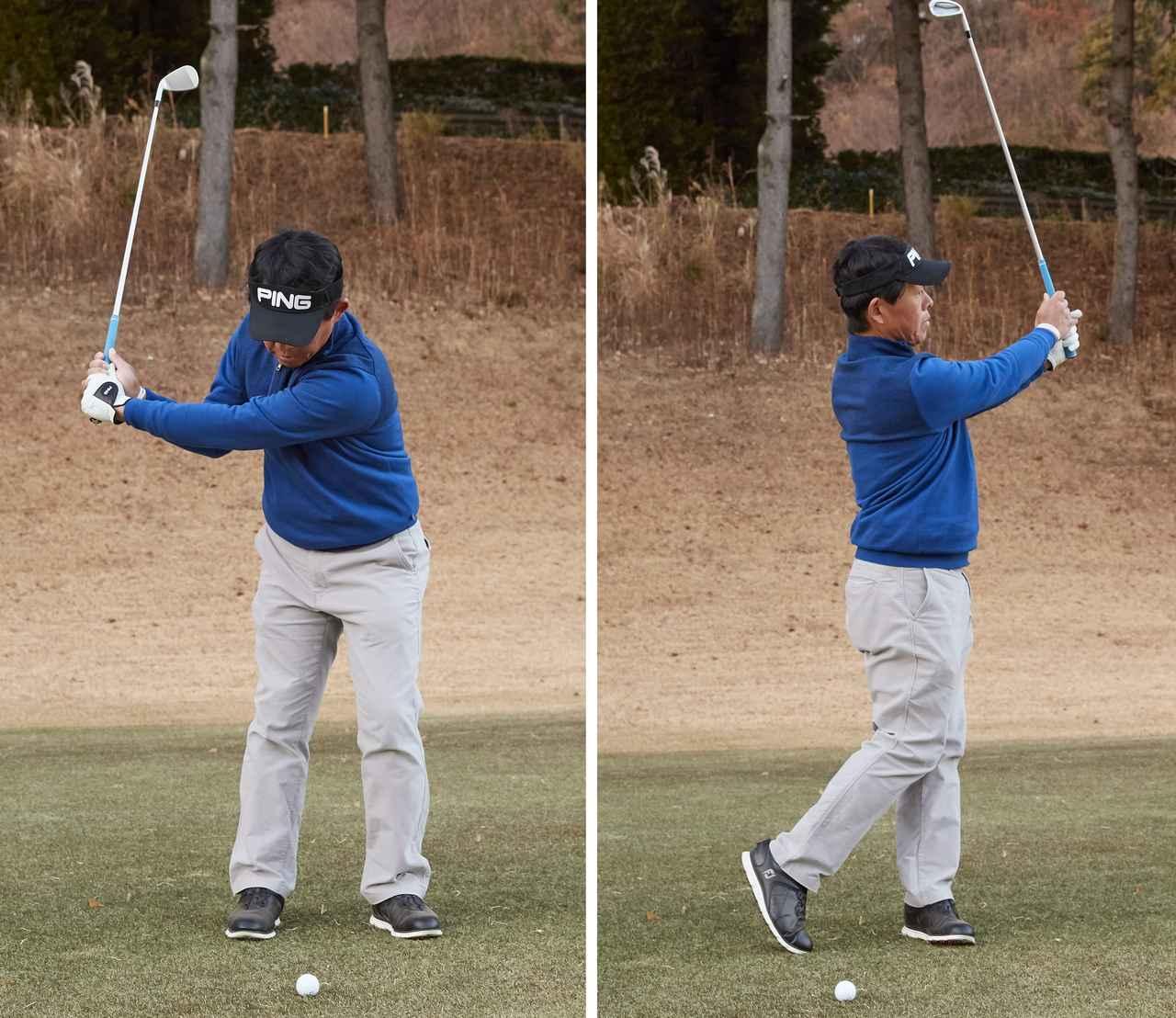 画像: あえて番手を上げて「肩から肩」くらいのスリークォーターの振り幅で打つことで、球の高さを抑え、ランの多い球が打てる
