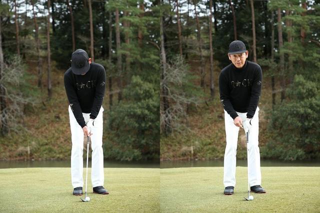 画像: 転がしのアドレス(左)から靴一足ぶん体を右にずらせばバウンスの効くアドレス(右)に!