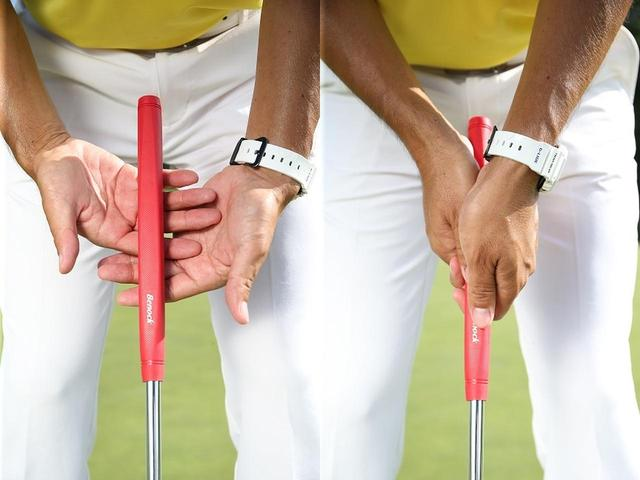 画像: 右手を下にして左手で覆いかぶさるように握る。左薬指を右手の人差し指と中指の間に引っかけるようにしてグリップする