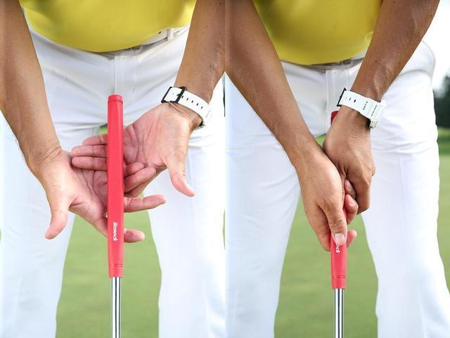 画像: 左手の人差し指を右手の中指と薬指の間にかぶせる握り方だ