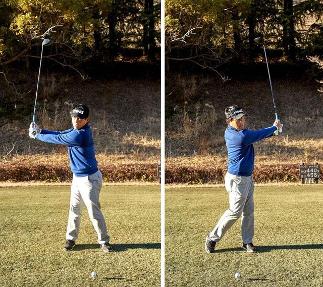 画像: 「右向け右」からの「左向け左」でスウィングすればバランスは崩れない