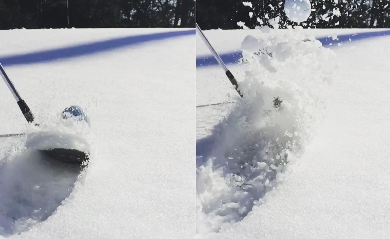 画像: 雪はルール上、カジュアルウオーターを適用するかルースインペディメントとして処理することが可能だが、あえてあるがままでトライするとした場合、サンドウェッジのバウンスを使うことで砂だけでなく雪でもちゃんと脱出できる